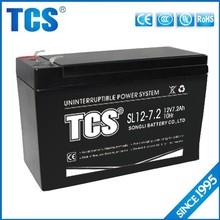 TCS hot sell 12v 7.2ah recharge maintenance free UPS battery