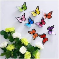 """12cm(5"""") 9cs Removable butterfly 9-color wall stickers fridge magnet wedding props and home decoration"""