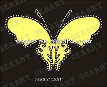 yellow butterfly iron on rhinestone transfer motif