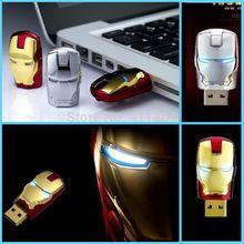 Hot!! 100% Real capacity 8GB 16GB 32GB Avengers Iron Man 64G USB2.0 Flash LED lights Memory Pen Drive Stick Pendrives U Disk