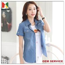 oem 100% cotton women's short sleeve denim shirt, ladies shirt design