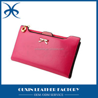 Luxury Women's Cow Leather Long Zipper Wallet ladies Clutch Purse material, exquisite genuine leather cow hide wallet rfid