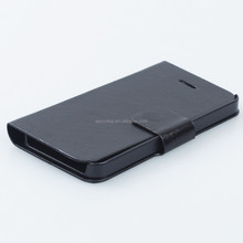 High Quality Folio Pu Leather Case with Cover for Apple iPhone 4 4s with Build-in Card Slot, Stand and Magnet Button black