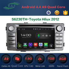 Android 4.4 Car audio stereo system/radio/dvd/gps navi for Toyota Hilux 2012