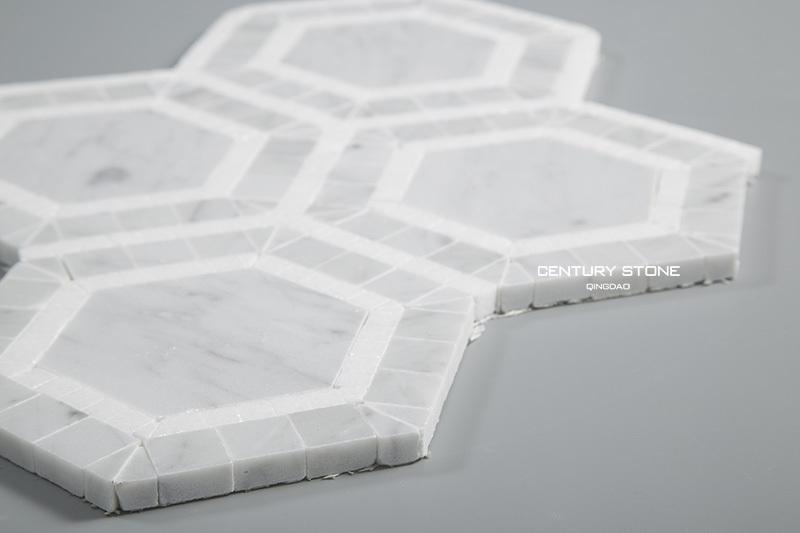 carrara and white thassos marble hexagon mosaic bathroom
