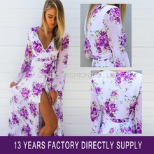 Summer Beach Flower Print Belted Front Split V Neck Long Sleeve Maxi Chiffon Dress