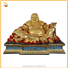Golden Color Home Decor Buddha Statue Metal Bronze Sitting Laughing Buddha Statue For Sale