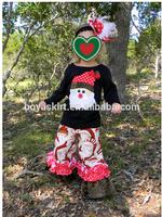 wholesale hot Christmas outfits girls black shirt and ruffle pants boutique girl clothing sets Christmas santa top and pant sets