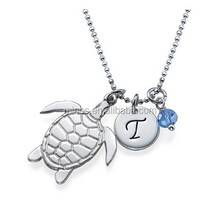 Turtle Necklace, Turtle Necklace with Initial and Birthstone,Customized Design Necklace