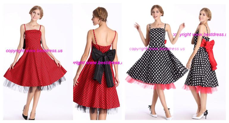Quanzhou Walson Rrtro Vintage 50s Halter Neck Dress Polka Dots Swing