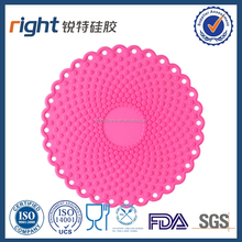 Silicone Flower Shaped Cup Coaster, Modern Kitchen Accessory+ Eshop Cable Tie (5ps anti-color Flower Coaster Red