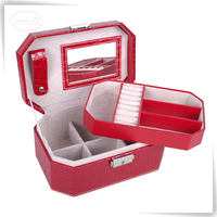 Elegantly handmade pu leather jewellery box catch jewellery box chinese jewellery box concealed hinge