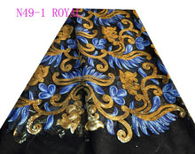 N49-1 royal net lace material with sequins