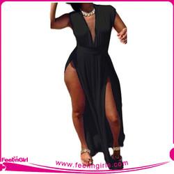 Wholesale Hexinfashion XXXL Black Plus Size Bodycon Dress