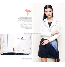 Fashion spring/autumn short pu jacket white women new design with stud waist band coat