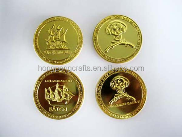 25 mm cor do ouro electroplate plástico token