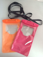 2015 clear pvc waterproof cell phone bag With String