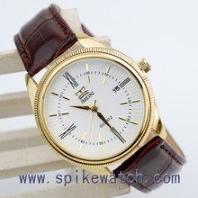 Design most popular japan movement stainless steel back man watches leather