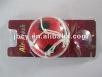 new product PU ball car air freshener with net and copula, red and black color football