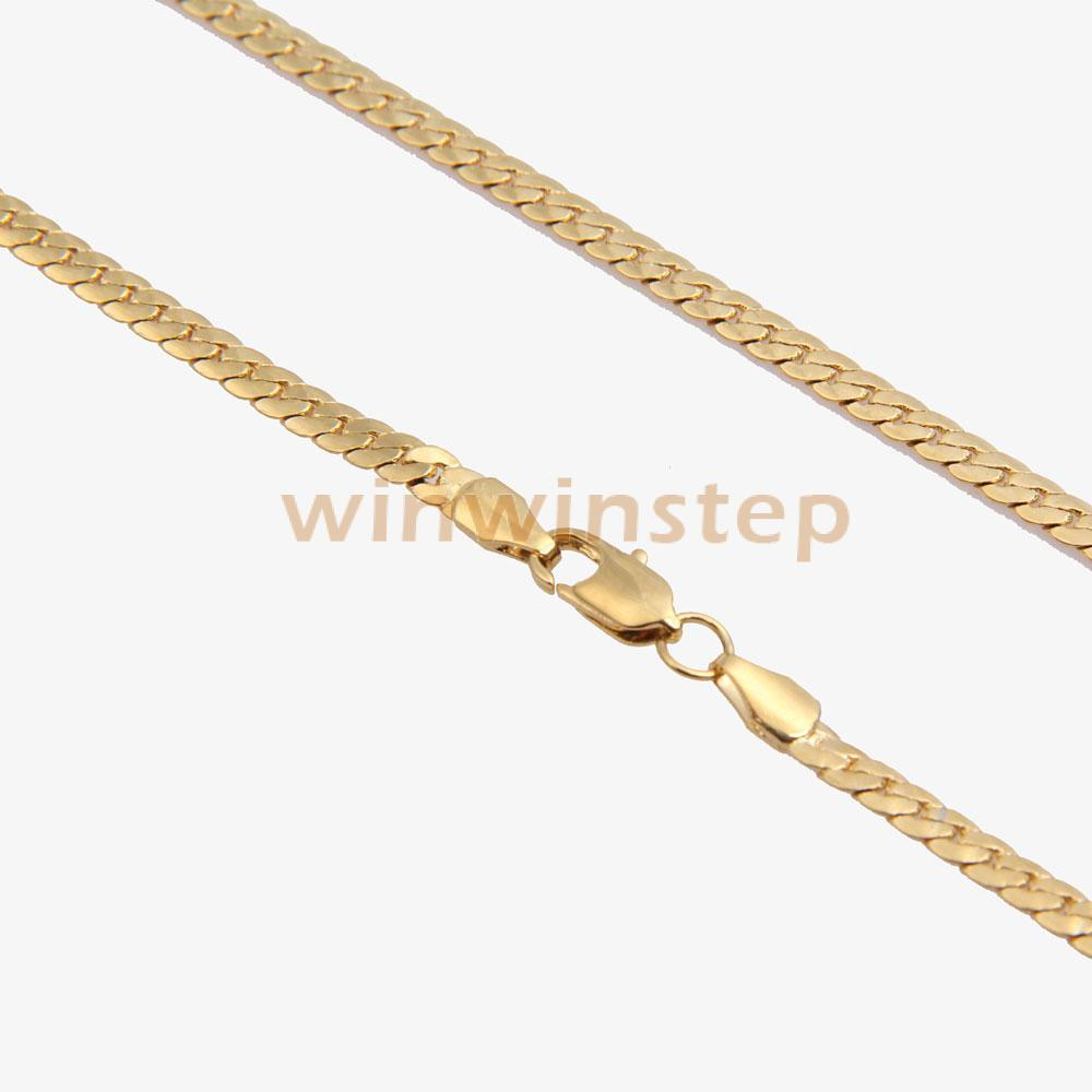 BS#S Fashion Simple Design Gold Plated Flat Curb Chain Necklace ...