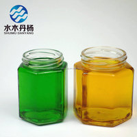 manufacturer cheap hexagon jam mason jar honey jars with metal screw cap