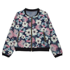 Korean style fashion women coat denim floral printed baseball coat
