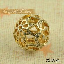 10mm Vintage Gold Brass Rhinestone Beads