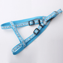 Light blue nylon dog harness pattern