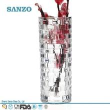 sanzo personalizado fabricante de vidrio cuadrados de vidrio pesado florero