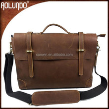 New fashion top layer genuine leather vintage briefcases mens