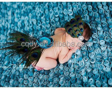 2015 fashion design lovely infant baby peacock feather headbands and back silk flower /fairy accessories for newborn baby