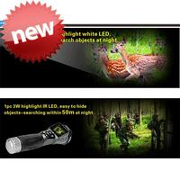 Battery Power Supply flashlight led flashlight night vision camera security camera with CE certificate