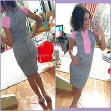 S30646A FASHION CLOTHES WOMEN'S KNITTED BODYCON SLIM FIT ZIPPER UP DESIGN DRESS