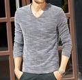 Moda masculina de manga longa v- pescoço camisa