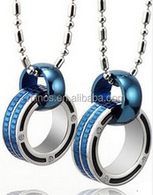 Beautiful Blue Connecting Rings Couple Necklaces Wedding Gift