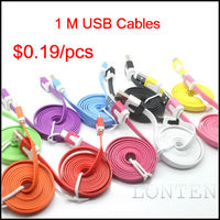 1m 3ft Flat Noodle Data Cable Charger V8 Charging Micro USB Cable for Samsung Galaxy S Nokia HTC Phones
