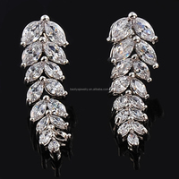 Factory Price Marquise Shape CZ Leaf Shape Tassels White Gold Plating Drop Earring For Women