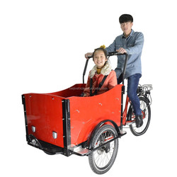 CE family bakfiets pedal assisted 2 front wheel motorized cargo mini trike for sale