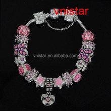 Vnistar pink tone family european charm bracelet gift for mom and mother's day JB100