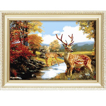 Hot sale canvas menglei oil painting by numbers with animals
