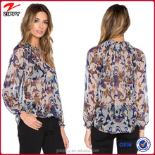 Hot Selling Elastic Cuff Floral Printed Chiffon Blouse 2015