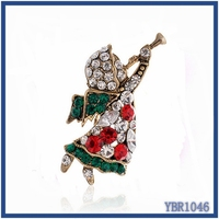 Cheapest 2016 Hot fashion jewellery in spain unique angle design mother's day crystal brooches and hijab pins