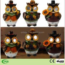 Polyresin owl Harvest Festival solar light for crafts