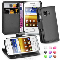 Wallet Flip PU Leather Case and Screen Protector For Samsung Galaxy Young 2