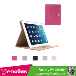 Fast Shipping for iPad 2 3 4 Diamond Camellia Magnetic Rhombus Smart Leather Wallet Case w/ Stand