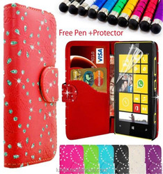 Bling PU Leather Wallet Magnetic Book Case Cover For Nokia Lumia 520
