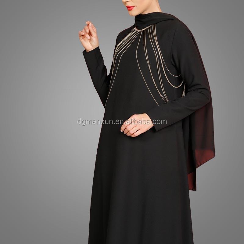 Fashion Islamic muslim evening dress for ladies black abaya in dubai 2017 (5).jpg
