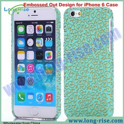 High Quality Leather Coated PC Hard Case for iPhone 6 4.7 inch Case With Delicate Embossed Design