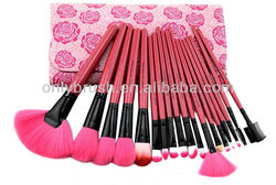 18pcs High Quality Soft Nylon Hair Fashion Makeup Brush Set and Bag with Rose Pattern