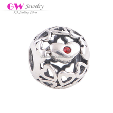 Hollow Heart Unthread Round Charms Wholesale Charming Silver Fashion Jewelry 925 Silver X312